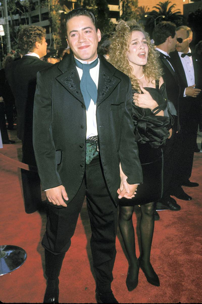 UNITED STATES - MARCH 29:  Sarah Jessica Parker and Robert Downey Jr. attending the 1989 Academy Awards in Los Angeles 03/29/89  (Photo by Vinnie Zuffante/Getty Images)