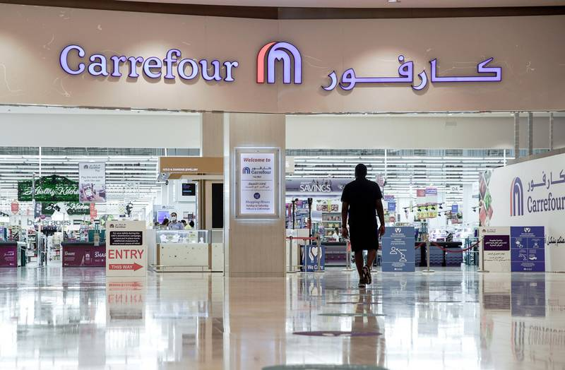 Abu Dhabi, United Arab Emirates, April 30, 2020.  Abu Dhabi officials on Wednesday said they were considering reopening malls soon, as they began a consultation with traders.  Yas Mall social distancing signs around the mall.Victor Besa / The NationalSection:  NAFor:  Standalone/Stock Images