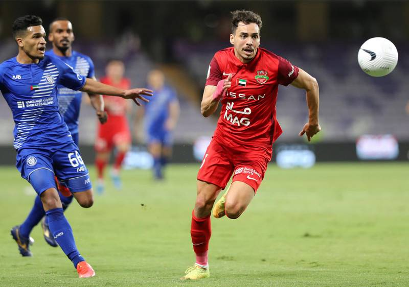 Shabab Al Ahli 's Carlos Eduardo tries to beat the defence in the game between Shabab Al Ahli and Al Nasr in the PresidentÕs Cup final in Al Ain on May 16th, 2021. Chris Whiteoak / The National.  Reporter: John McAuley for Sport