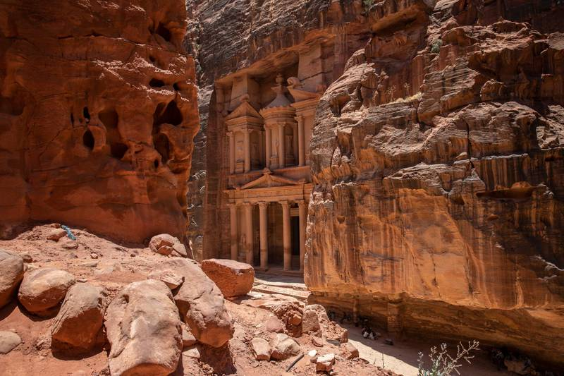 epaselect epa08498828 A view of the Treasury building at the reopened Petra archeological site, in Petra, some 280 km south of Amman, Jordan, 20 June 2020. Petra archeological site is one of the landmarks of Jordan tourism sector, the former Nabatean capital which dates back to about 200 BC, attracted in 2019, according to official figures, about 1,13 million visitors from all over the world. Following the start of the COVID-19 coronavirus pandemic in Jordan, the last tourist left Petra on 16 March. Since then its some 200 guides, 1,500 horse and donkey owners, hotels, restaurant and tourist stalls workers stayed without a fixed revenue. As Jordan tourism sites have officially reopened to domestic tourism on 16 June, locals flocked on 20 June to visit Petra in quiet surroundings without the big tourist buses.  EPA-EFE/ANDRE PAIN