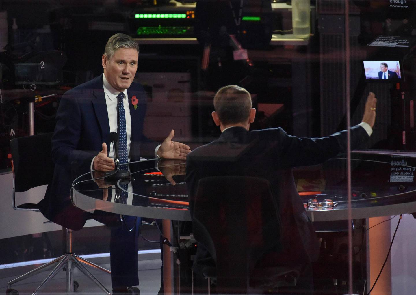 Britain's opposition Labour Party leader Keir Starmer appears on BBC TV's The Andrew Marr Show in London, Britain November 1, 2020. Picture taken through glass. Jeff Overs/BBC/Handout via REUTERS THIS IMAGE HAS BEEN SUPPLIED BY A THIRD PARTY. NO RESALES. NO ARCHIVES. NO NEW USES 21 DAYS OF ISSUE