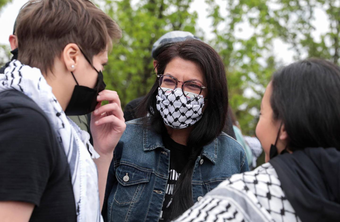 Palestinian-American congresswoman Rashida Tlaib attends a pro-Palestinian protest in Dearborn, Michigan, U.S., May 16, 2021. Picture taken May 16, 2021. REUTERS/Rebecca Cook