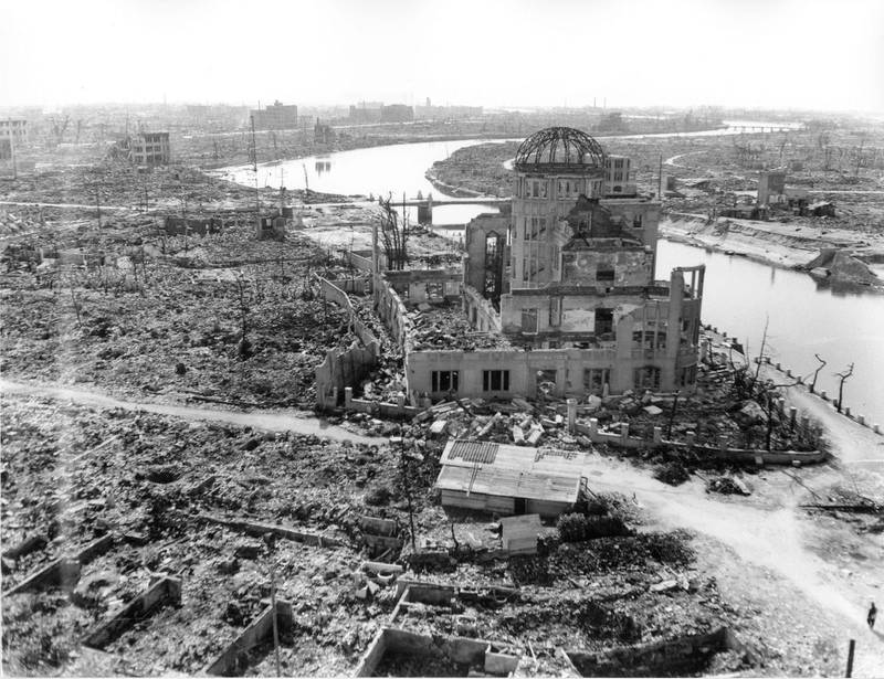 """(FILES) This handout file picture taken on November 1945 by the US Army and released by the Hiroshima Peace Memorial Museum shows the A-bomb Dome, three months after the atomic bomb was dropped by B-29 bomber Enola Gay over the city of Hiroshima. Japan on August 6, 2020 will mark 75 years since the world's first atomic bomb attack, with the COVID-19 coronavirus pandemic forcing a scaling back of annual ceremonies to commemorate the victims. - ---EDITORS NOTE---RESTRICTED TO EDITORIAL USE - MANDATORY CREDIT """"AFP PHOTO / US Army / HIROSHIMA PEACE MEMORIAL MUSEUM"""" - NO MARKETING NO ADVERTISING CAMPAIGNS - DISTRIBUTED AS A SERVICE TO CLIENTS   / AFP / Hiroshima Peace Memorial Museum / US ARMY / Handout / ---EDITORS NOTE---RESTRICTED TO EDITORIAL USE - MANDATORY CREDIT """"AFP PHOTO / US Army / HIROSHIMA PEACE MEMORIAL MUSEUM"""" - NO MARKETING NO ADVERTISING CAMPAIGNS - DISTRIBUTED AS A SERVICE TO CLIENTS"""