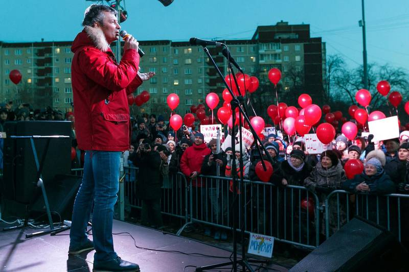 FILE - In this Monday, April 2, 2018 file photo, Yekaterinburg mayor Yevgeny Roizman speaks to the crowd during a protest against official plans to cancel direct mayoral elections in Yekaterinburg, Russia. The mayor of Russia's fourth-largest city has stepped down to protest a government-promoted law which scrapped mayoral elections. (AP Photo, File)