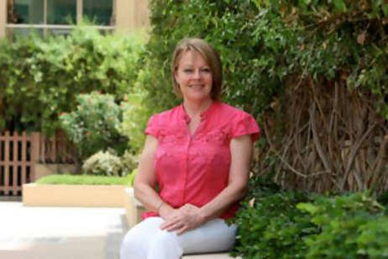 DUBAI, UNITED ARAB EMIRATES, June 27: Anna Cronin in the garden outside her home at the Greens in Dubai. (Pawan Singh / The National) For Personal Finance