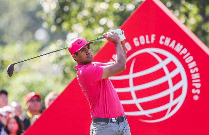 Tony Finau of the US plays a shot during the third round of the WGC-HSBC Champions golf tournament in Shanghai on October 27, 2018. China OUT  / AFP / OSPORTS / OSPORTS