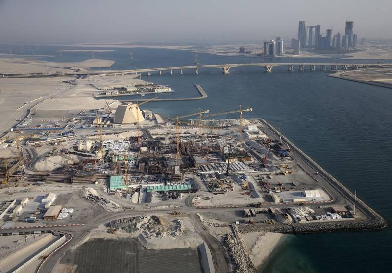 Abu Dhabi, United Arab Emirates, Oct. 1, 2013 ///  Aerial view of the Louvre Abu Dhabi construction site on  Saadiyat Island in Abu Dhabi, on Tuesday, Oct. 1, 2013. (Silvia Razgova / The National)  Usage: Restricted Publication: Undated Reporter: Standalone   *** Local Caption ***  sr-131001-louvreAD0525.jpg