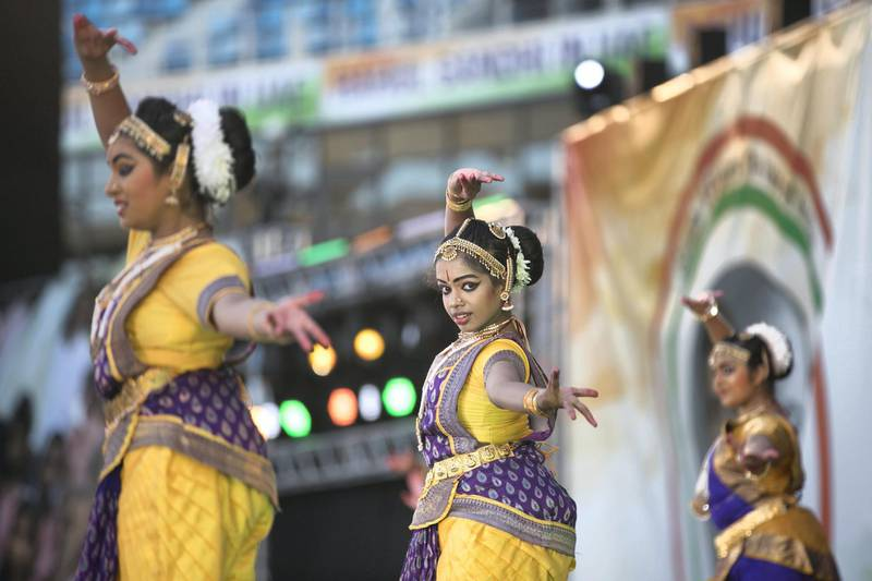 DUBAI, UNITED ARAB EMIRATES - JANUARY 11, 2019. Indian cultural dances  performed ahead of Rahul Gandhi's speech today at Dubai International Cricket Stadium.(Photo by Reem Mohammed/The National)Reporter: Ramola Talwar.Section:  NA