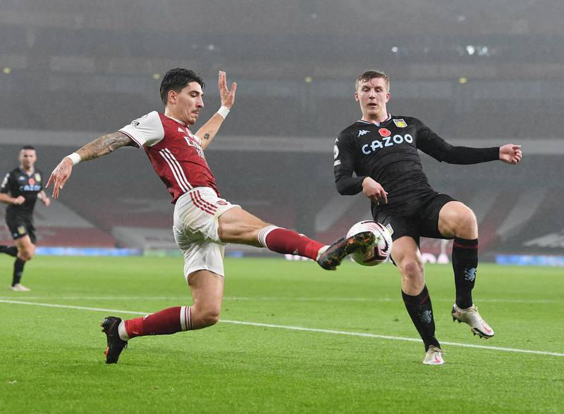 LONDON, ENGLAND - NOVEMBER 08: Hector Bellerin of Arsenal takes on Matt Targett of Aston Villa during the Premier League match between Arsenal and Aston Villa at Emirates Stadium on November 08, 2020 in London, England. Sporting stadiums around the UK remain under strict restrictions due to the Coronavirus Pandemic as Government social distancing laws prohibit fans inside venues resulting in games being played behind closed doors. (Photo by Stuart MacFarlane/Arsenal FC via Getty Images)