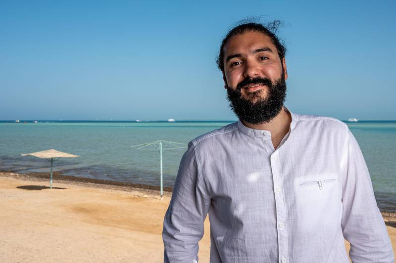 Palestinian director Ameen Nayfeh poses during a photo session on the 7th day of 4th edition of El Gouna Film Festival, in El Gouna, Egypt on October 29, 2020.
