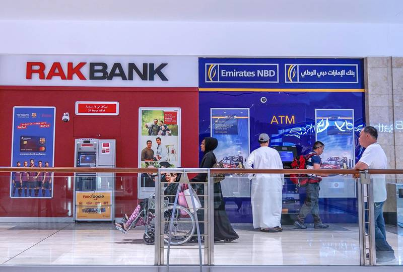 Abu Dhabi, United Arab Emirates, November 1, 2019, 2019.   Stock Images.-- RAK Bank and Emirates NBD ATM's at the Abu Dhabi mall.Victor Besa/The NationalSection:  NAFOR:  Olive Obina
