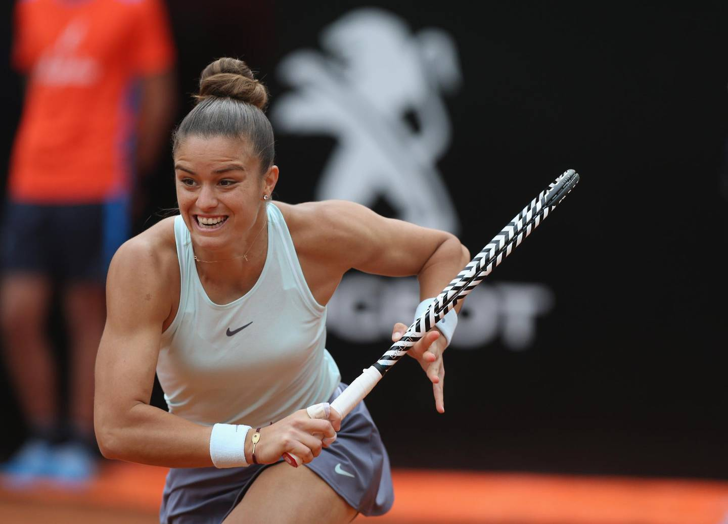 ROME, ITALY - MAY 18:  Maria Sakkari of Greece in action against Karolina Pliskova of Czech Republic in their Women's singles semi-final match during Day seven of the International BNL d'Italia at Foro Italico on May 18, 2019 in Rome, Italy.  (Photo by Paolo Bruno/Getty Images)