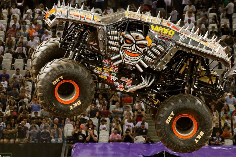SAO PAULO, BRAZIL - DECEMBER 16: Monster trucks perform during the Monster Jam show in the first edition of Monster Jam in the Corinthians Arena in Sao Paulo, Brazil on December 16, 2017.  (Photo by Dario Oliveira/Anadolu Agency/Getty Images)