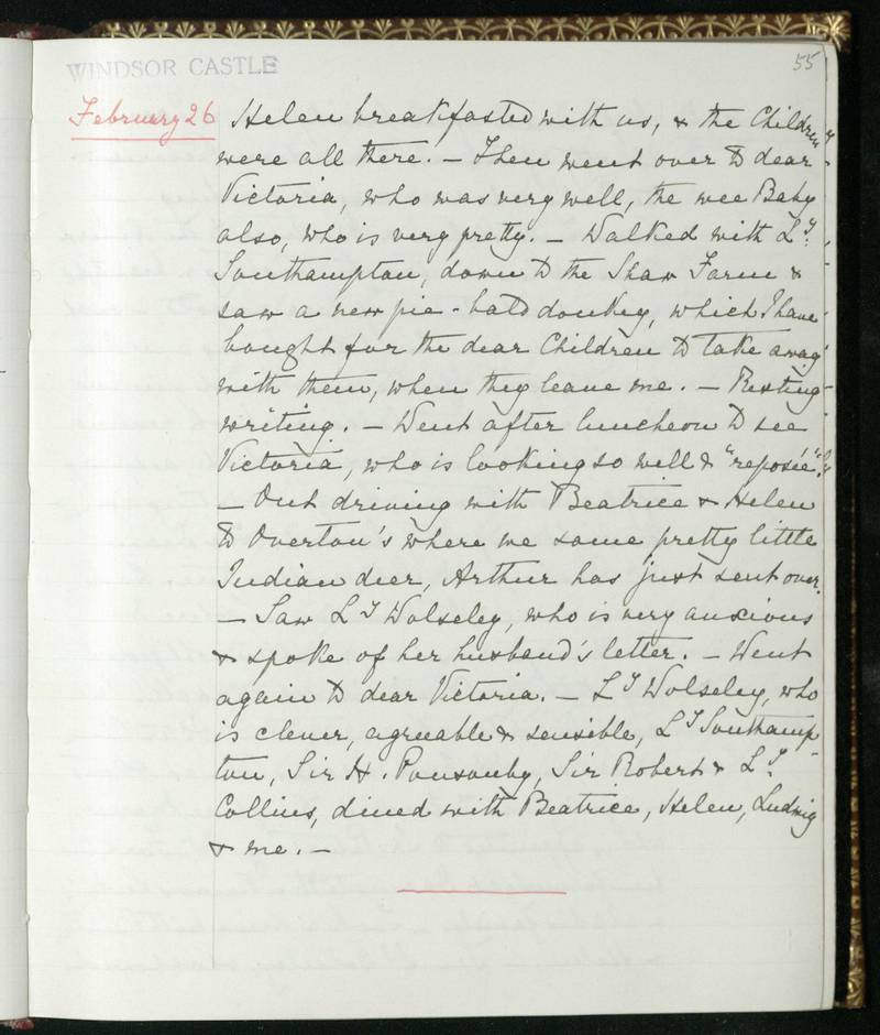 The Journal in which Queen Victoria recorded the birth of Prince Philip's mother, Princess Alice of Battenberg, at Windsor Castle in 1885. Courtesy Royal Archives