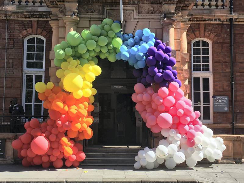 Eye-popping rainbow balloon entrance display put up by staff at my local National Hospital for Neurology and Neurosurgery on 23 April to thank the public for their support. Lucy BullivantRainbow balloon entrance display, National Hospital for Neurology and Neurosurgery, Grade II listed; original structure built in 1860Camden, Central London. Courtesy Historic England