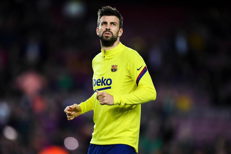 BARCELONA, SPAIN - FEBRUARY 02: Gerard Pique of FC Barcelona warms up prior to the Liga match between FC Barcelona and Levante UD at Camp Nou on February 02, 2020 in Barcelona, Spain. (Photo by David Ramos/Getty Images)