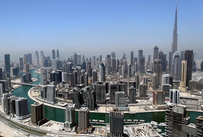 Dubai, United Arab Emirates - Reporter: N/A. Stock. General view of Downtown, Dubai and Business Bay. Friday, April 9th, 2021. Dubai. Chris Whiteoak / The National