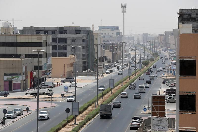 AJMAN , UNITED ARAB EMIRATES , JULY 26 – 2018 :- View of the Sheikh Ammar street in Al Muwaihat area in Ajman.  ( Pawan Singh / The National )  For News. Story by Salam Al Amir