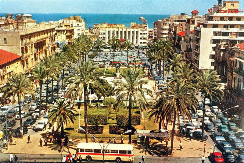 Picture from the 1950s shows a general view of Martyrs Square, also known as Sahet el-Burj, in down town Beirut which has remarkably changed after the 1975-90 Lebanese civil war and the reconstruction plan that covered the heart of the city afterwards. Beirut's city centre, where the green line dividing it into eastern and western hostile sectors was drawn in the first months of the civil war, witnessed some of the period's fiercest battles and got the brunt of destruction. (Photo by AFP)