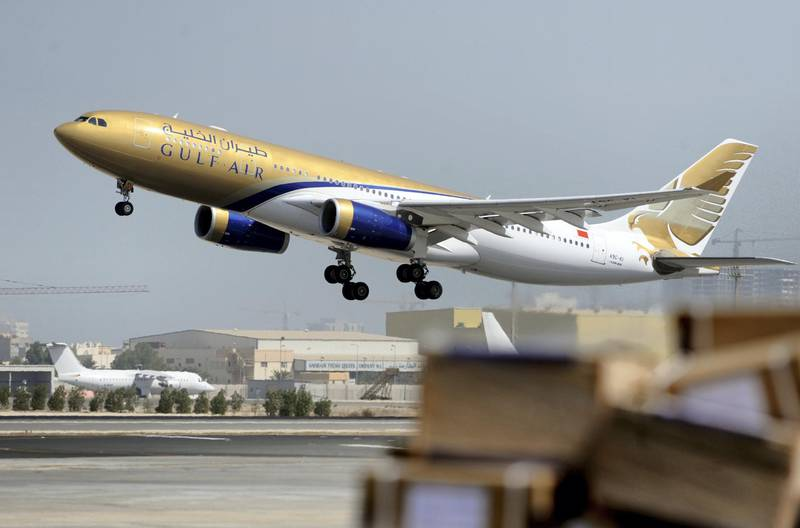 A Gulf Air Airbus A330 takes off from Bahrain international airport in Muharraq, Bahrain, on Wednesday, Oct. 20, 2010. The Persian Gulf state of Bahrain injected 400 million dinars ($1 billion) into Gulf Air as the struggling national carrier restructures to compete in the region's increasingly competitive aviation market. Photographer: Phil Weymouth/Bloomberg