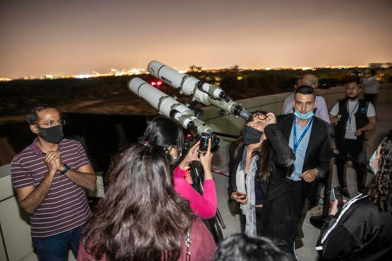 DUBAI UNITED ARAB EMIRATES. 21 DECEMBER 2020. The first 'Christmas Star' in 800 years appears in the UAE skies in a rare celestial even. The public gets to witness this event at the Al Thuraya Astronomy Centre in Mushrif Park.  (Photo: Antonie Robertson/The National) Journalist: Sarwat Nasir. Section: National.