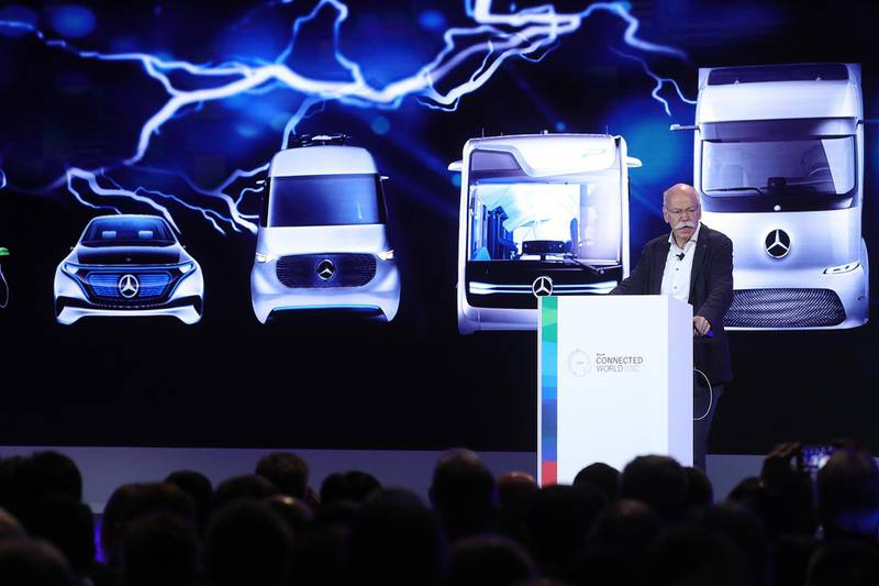 Dieter Zetsche, chief executive officer of Daimler AG, delivers a keynote speech at the Robert Bosch GmbH Internet of Things (IoT) conference in Berlin, Germany, on Wednesday, Feb. 21, 2018. Bosch raked in record profit and revenue last year and foresees more growth in 2018 even as the German auto-parts giant wrestles with weakness in the scandal-beset diesel segment that might be compounded by controversial air-quality tests on monkeys that came to light this week. Photographer: Krisztian Bocsi/Bloomberg