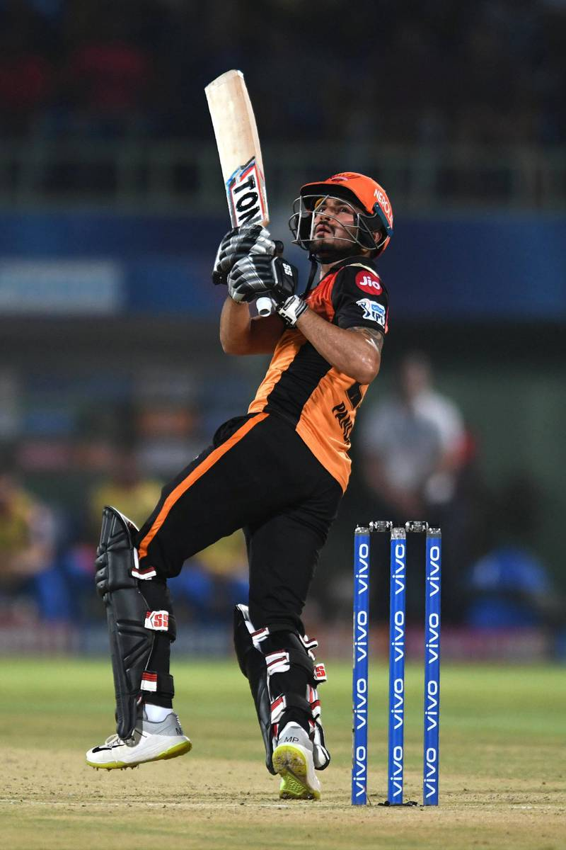 Sunrisers Hyderabad cricketer Manish Pandey plays a shot during the 2019 Indian Premier League (IPL) eliminator Twenty20 cricket match between Sunrisers Hyderabad and Delhi Capitals at the Dr. Y.S. Rajasekhara Reddy ACA-VDCA Cricket Stadium in Visakhapatnam on May 8, 2019. (Photo by NOAH SEELAM / AFP) / ----IMAGE RESTRICTED TO EDITORIAL USE - STRICTLY NO COMMERCIAL USE-----