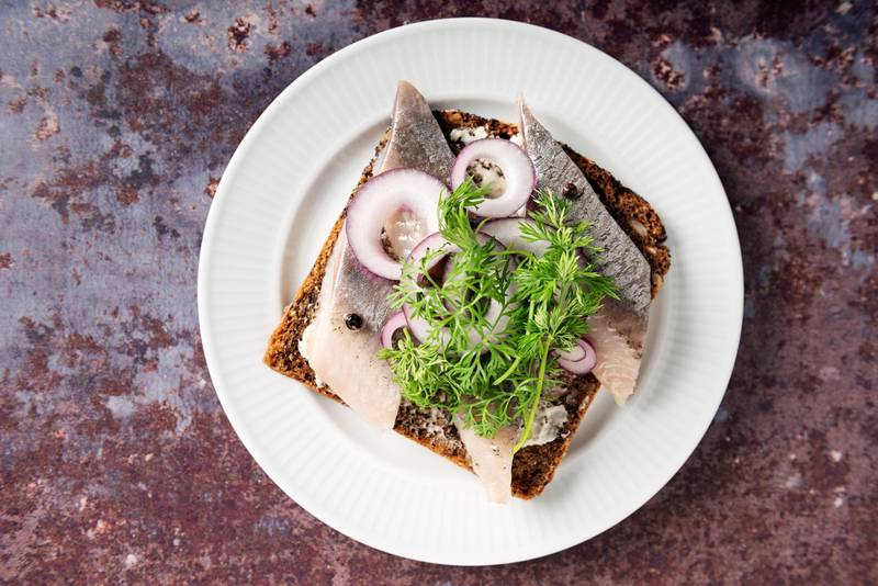 """Traditional danish """"smv?rrebrv?d"""" or open sandwich made with a slice of buttered rye bread, marinated herring, onion and dill. Colour, horizontal with some copy space."""