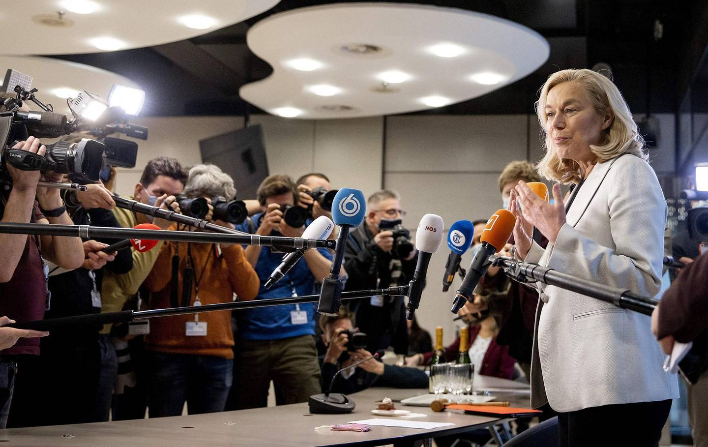 """Democrats 66 party leader Sigrid Kaag speaks the press at a meeting of D66 in the Thorbeckezaal in The Hague, on March 18, 2021, the day after the Dutch parliamentary elections. Dutch Prime Minister Mark Rutte claimed an """"overwhelming"""" victory in elections on March 18, 2021, vowing to use his fourth term in office to rebuild the country after the coronavirus pandemic. - Netherlands OUT  / AFP / ANP / Remko de Waal"""