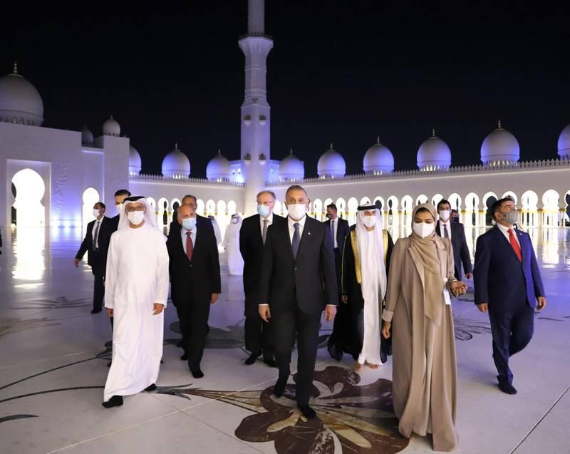 Mustafa Al Kadhimi, Prime Minister of Iraq visits Sheikh Zayed Grand Mosque. WAM