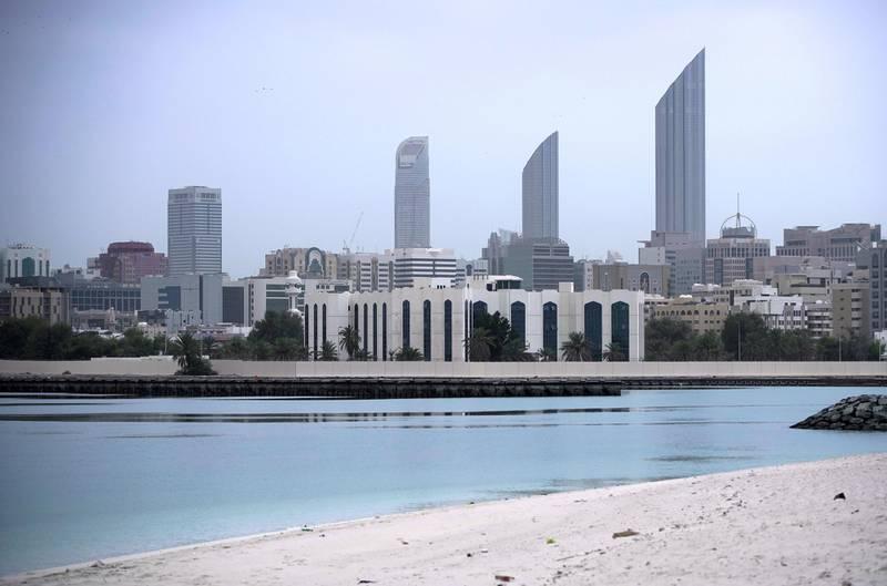 Abu Dhabi, United Arab Emirates, April 12, 2020.  Overcast and gloomy weather at downtown Abu Dhabi.  Shot from Al Reem Island, Abu Dhabi.Victor Besa / The NationalSection:  NAReporter: