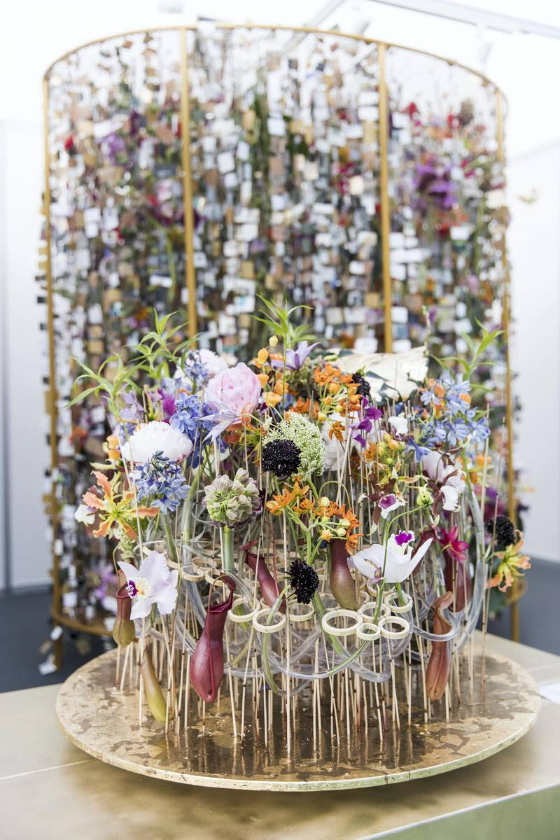DUBAI, UNITED ARAB EMIRATES - Feb 22, 2018.Tamas Mezoffy, Hungary, floral arrangements at Dubai International Flower Festival.(Photo: Reem Mohammed/ The National)Reporter: Melanie HuntSection: WK