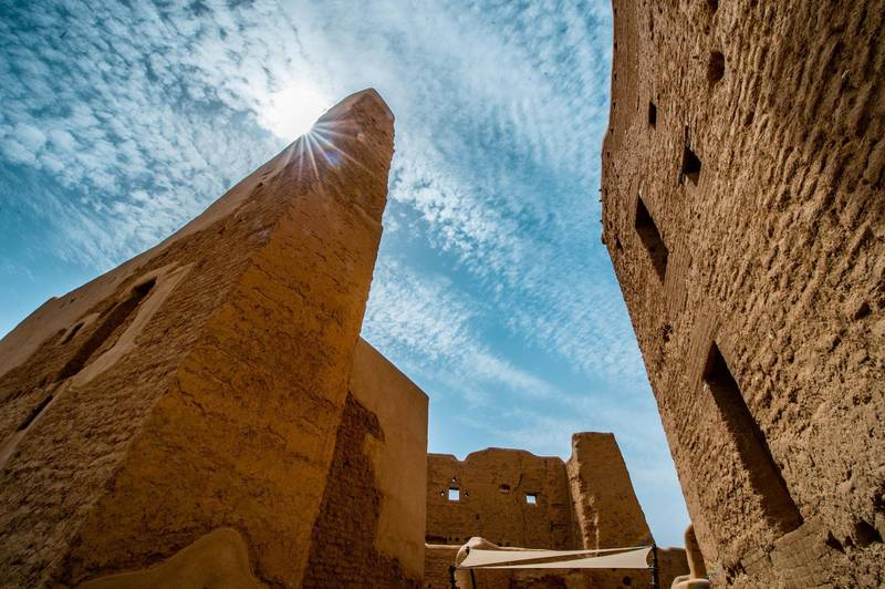 Adobe (mud-brick) structures in UNESCO World Heritage Site At-Turaif in Ad Diriyah. Photo by THAMER AL AHMADI