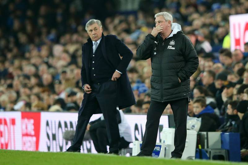 LIVERPOOL, ENGLAND - JANUARY 21: Steve Bruce, Manager of Newcastle United reacts as Carlo Ancelotti, Manager of Everton looks on during the Premier League match between Everton FC and Newcastle United at Goodison Park on January 21, 2020 in Liverpool, United Kingdom. (Photo by Alex Livesey/Getty Images)