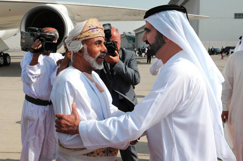 Sultan Qabus arrives in the UAE on a special visit. Sheikh Mohammed   bin Rashid was at the sultan's welcome at the airport. WAM Dubai, Oct 22th, 2012 (WAM) - Vice President and Prime Minister of UAE and Ruler of Dubai His Highness Sheikh Mohammed Bin Rashid Al Maktoum and His Majesty Sultan Qaboos Bin Saeed of Oman held talks on bilateral ties Monday at the Zabeel Palace in Dubai.   In the presence of Sheikhs and senior officials, they reviewed fraternal relations between UAE and Oman and exchanged views on the ways to bolster them for the prosperity and welfare of peoples of both countries.   Deputy Ruler of Dubai HH Sheikh Maktoum bin Mohammed bin Rashid Al Maktoum, FNC Speaker Mohammed Ahmed Al Murr, Deputy Prime Minister and Minister of Interior Lt. General HH Sheikh Saif bin Zayed Al Nahyan, President of Dubai Civil Aviation and Chairman of Emirates Group HH Sheikh Ahmed bin Saeed Al Maktoum, Director General of the Dubai Ruler's Court Mohammed Ibrahim Al-Shaibani, Commander General of Dubai Police Lieutenant General Dahi Khalfan Tamim and the delegation accompanying His Majesty the Sultan of Oman were among those who attended the meeting.