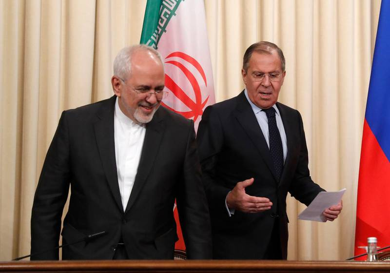 epa06698591 (L-R) Iranian Foreign Minister Mohammad Javad Zarif, Russian Foreign Minister Sergei Lavrov, and Turkish Foreign Minister Mevlut Cavusoglu (not pictured) give a news conference following their trialteral on the Syrian crisis in Moscow, Russia, 28 April 2018. Russia hosts a trilateral with Turkey and Iran to discuss current developments in Syria including an alleged chemical attack in Douma.  EPA/SERGEI CHIRIKOV