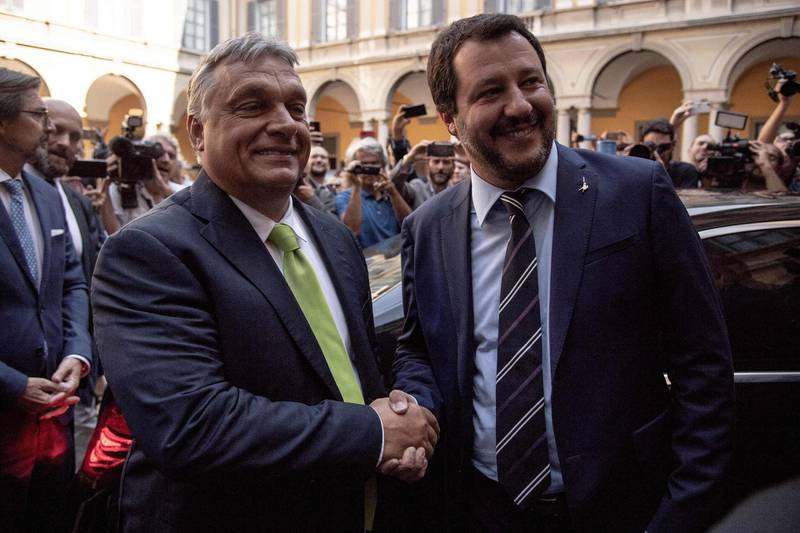 Italy's Interior Minister Matteo Salvini (R) shakes hands with Hungary's Prime Minister Viktor Orban ahead of a meeting in Milan on August 28, 2018. (Photo by MARCO BERTORELLO / AFP)