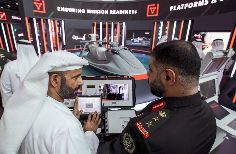 Abu Dhabi, United Arab Emirates, February 24, 2020.  The Unmanned Systems Exhibition and Conference (UMEX 2020) and Simulation Exhibition and Conference (SimTEX 2020).--  The Jetski System by EARTH, an advanced unmaned vehicle with military and rescue capabilities.Victor Besa / The NationalSection:  NAReporter:  None