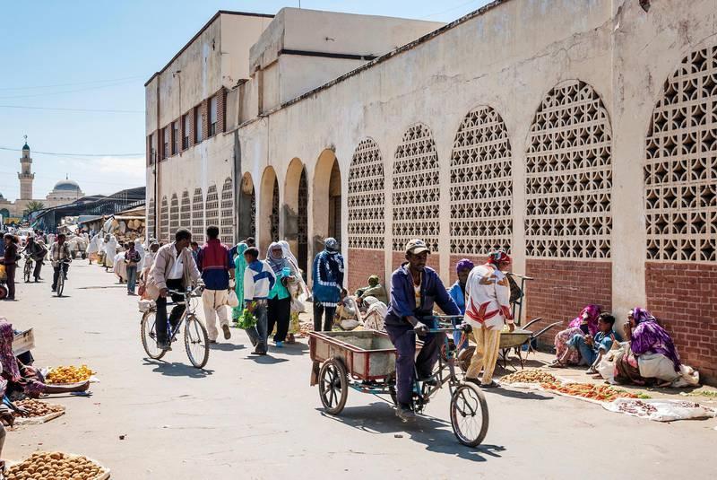 HB055B street in central market shopping area of asmara city eritrea