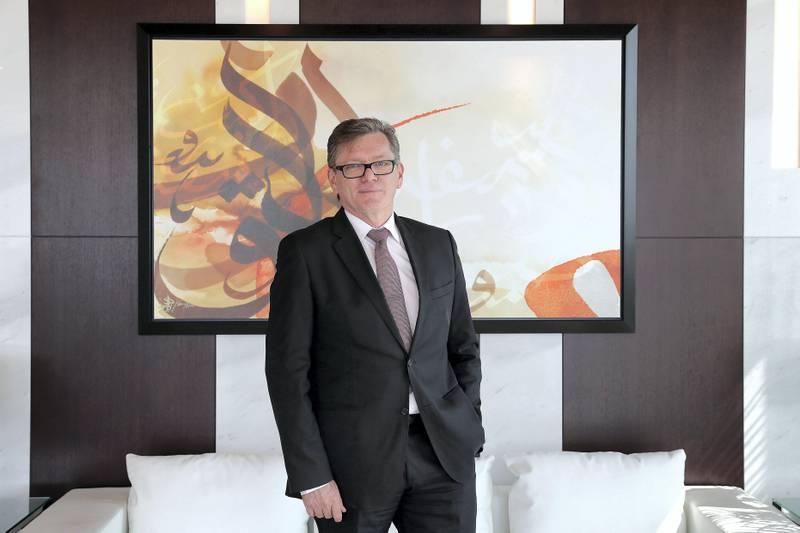 DUBAI , UNITED ARAB EMIRATES , SEP 14 ��� 2017 : Shayne Nelson , Group Chief Executive of Emirates NBD at his office in the Emirates NBD Headquarter in Dubai. ( Pawan Singh / The National ) Story by Sarmad Khan