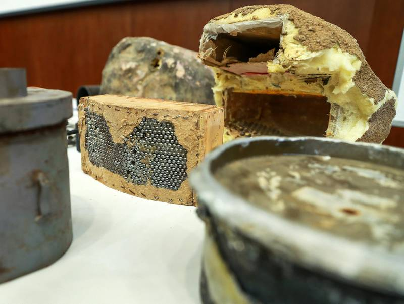 Abu Dhabi, U.A.E., June 19, 2018. Allegedly used Iranian weapons that have been used in Yemen.  I.E.D. or improvised explosive decices on display.  Ball bearings camouflaged inside a fake rock.Victor Besa / The NationalSection:  NARequested by:   Jake Badger