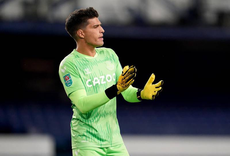 LIVERPOOL, ENGLAND - SEPTEMBER 16: Joao Virginia of Everton reacts during the Carabao Cup Second Round match between Everton FC and Salford City at Goodison Park on September 16, 2020 in Liverpool, England. (Photo by Jon Super - Pool/Getty Images)
