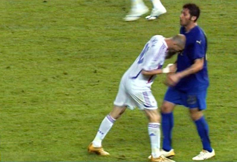 This TV grab taken 09 July 2006 on French TV channel LCI shows France's football team captain Zinedine Zidane (L) butting Italian defender Marco Materazzi during the World Cup 2006 final football match between Italy and France at Berlin's Olympic Stadium. Italy won 5-3 on penalties after the final had finished tied 1-1 after extra-time.    AFP PHOTO / LCI / AFP PHOTO / LCI / DESK