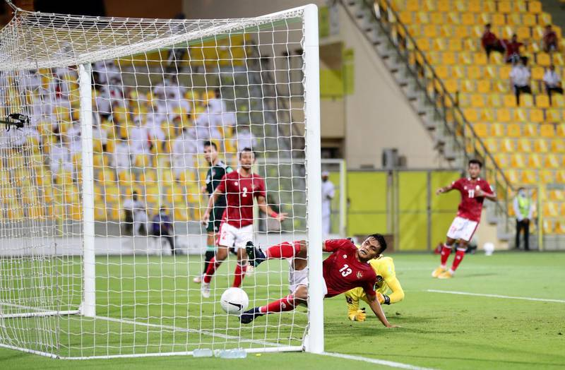 UAE's Fabio De Lima scores during the game between the UAE and Indonesia in the World cup qualifiers at the Zabeel Stadium, Dubai on June 11th, 2021. Chris Whiteoak / The National.  Reporter: John McAuley for Sport