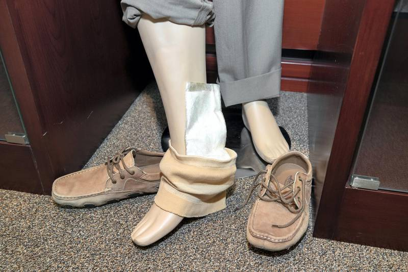 Dubai, United Arab Emirates - July 07, 2019: Drugs are hidden inside peoples trousers at the exhibition of seizures at Dubai Airport. Sunday the 7th of July 2019. DXB, Dubai. Chris Whiteoak / The National
