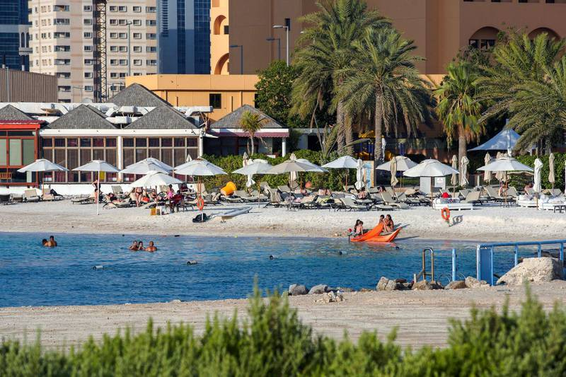 Abu Dhabi, United Arab Emirates, June 29, 2020.   Hotel beaches are now open to guests at the Ramada Abu Dhabi Corniche as Covid-19 restrictions ease.Victor Besa  / The NationalSection:  NA / StandaloneReporter:  none