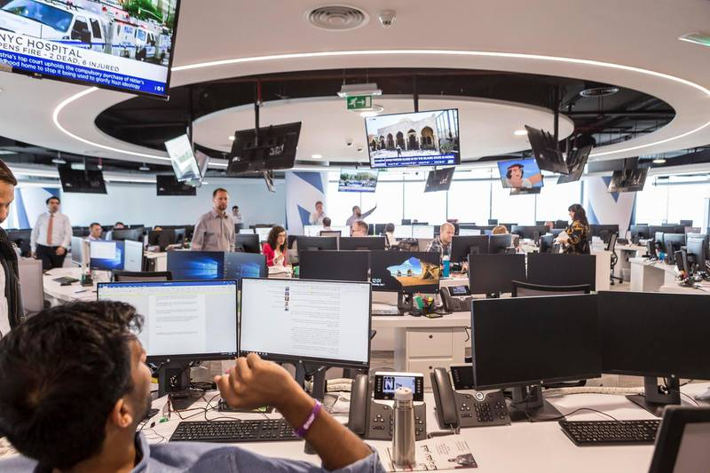 ABU DHABI, UNITED ARAB EMIRATES, 01 JULY 2017. General image of The National newspaper's news room at their new offices in TwoFour54. (Photo: Antonie Robertson/The National) ID: None. Journalist: None. Section: National.