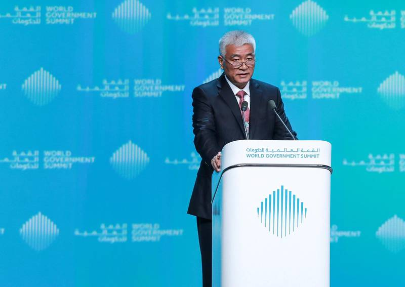 Dubai, U.A.E., February 11, 2019. World Government Summit day 2-DXB.--  The Rise of the Dragon:  China's Success in Leading the World of Technology, Wang Zhigang, Special Envoy of President Xi Jinping, Minister of Science and Technology, People's Republic of China.Victor Besa/The NationalSection:  NAReporter: