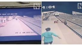 Watch the moment an Indian railway employee risks life to save child on tracks
