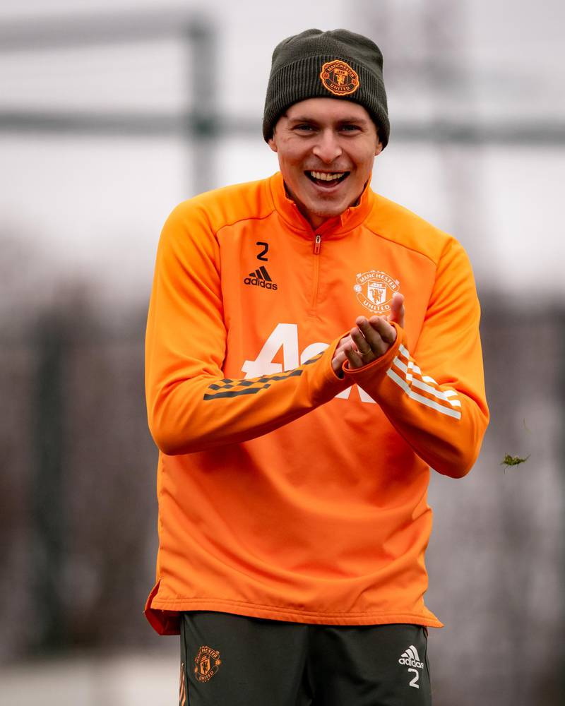 MANCHESTER, ENGLAND - MARCH 16: (EXCLUSIVE COVERAGE) Victor Lindelof of Manchester United in action during a first team training session at Aon Training Complex on March 16, 2021 in Manchester, England. (Photo by Ash Donelon/Manchester United via Getty Images)